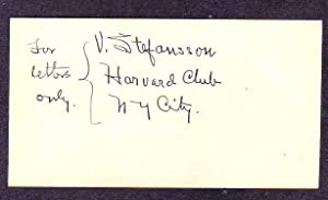 Signed Card with Hand Notation: Steffansson, Vilhjalmur