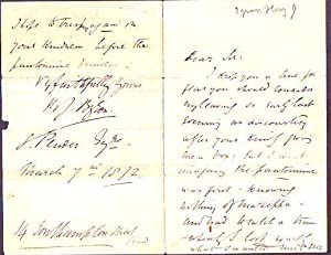 Autograph Letter Signed, dated 1872: Byron, Henry James