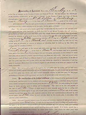 """1890 Contract Between a Chicago Publishing Company and a Bookselling Agent to Sell """"School ..."""
