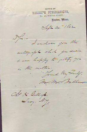 Autograph Note Signed, Dated 1862: Ballou M.M. (Maturin Murray)