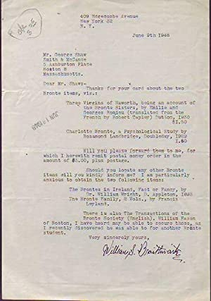 Typed Letter Signed to a Boston Bookseller regarding Purchase of Books about the Brontes: ...