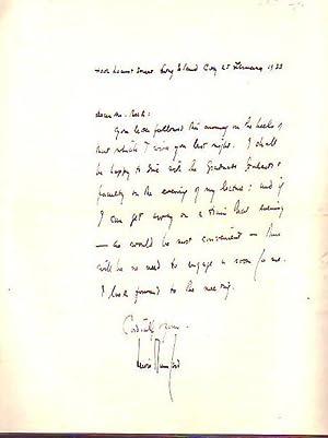 Handritten Letter dated 1933: Mumford, Lewis
