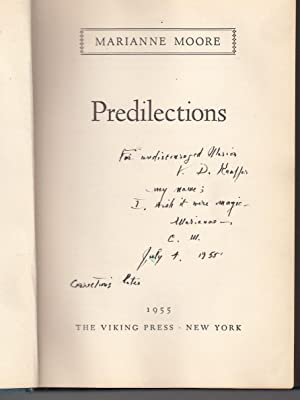 Predilections (Inscribed by Moore): Moore, Marianne