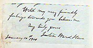 Ink signature and sentiment dated January, 1900: Howe, Julia Ward
