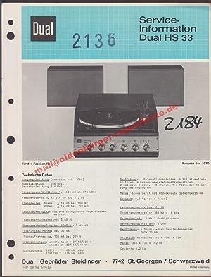 Service Manual DUAL HS 33 ( Plattenspieler: Dual Gebrüder Steidinger