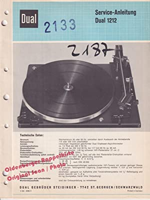 Service Manual DUAL 1212 ( Plattenspieler ): Dual Gebrüder Steidinger