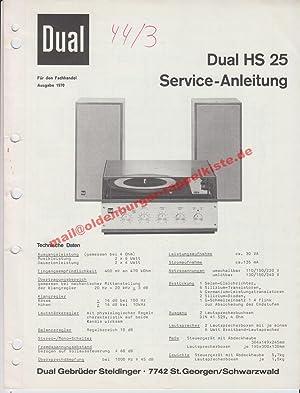 Service Manual DUAL HS 25 ( Plattenspieler: Dual Gebrüder Steidinger