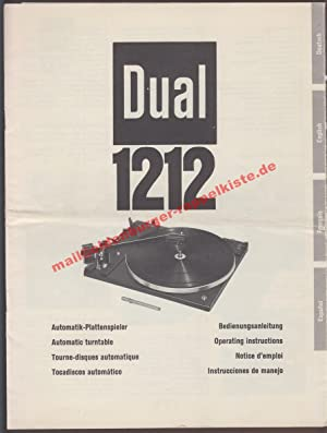 DUAL 1212 Plattenspieler - Original-Bedienungsanleitung: Dual Gebrüder Steidinger