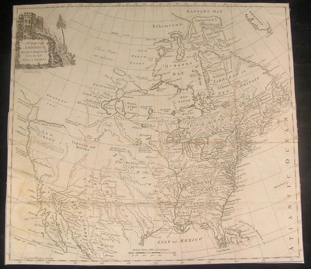 North America 1770 by T. Kitchen Mer de L'ouest River of West rare antique map: Thomas Kitchin