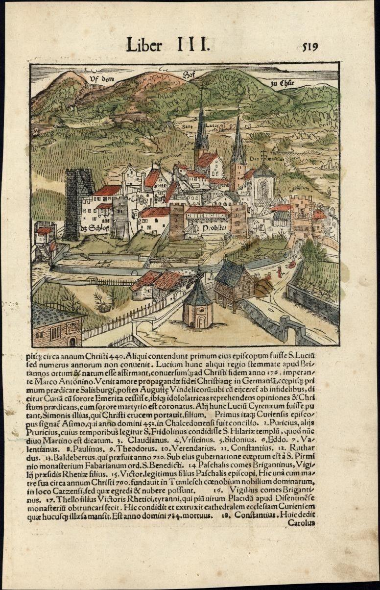 Chur Switzerland city view c1552 Munster rare map w orig early