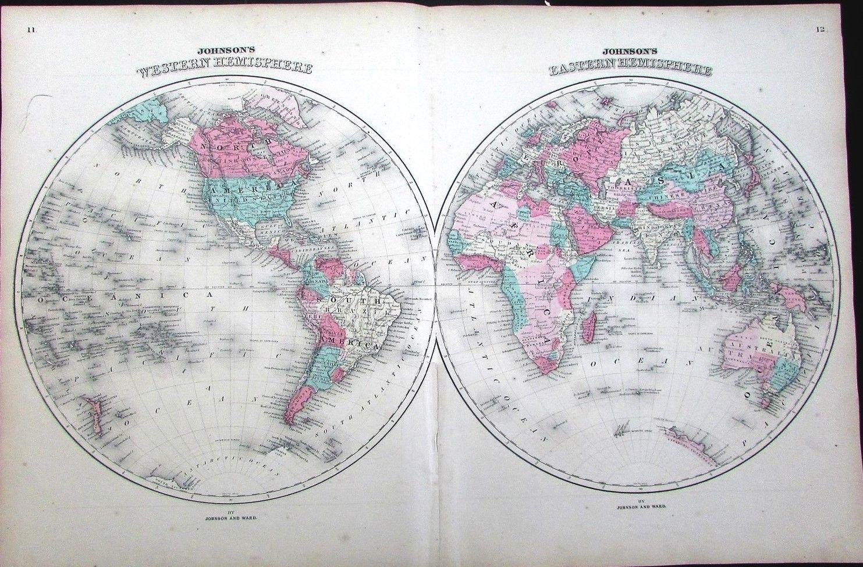 World map Eastern Western Hemisphere ...
