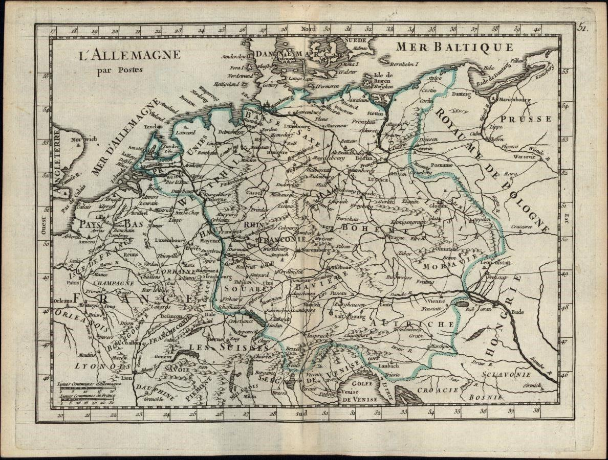 Central Europe Germany Bohemia Moravia Austria France 1748 Antique