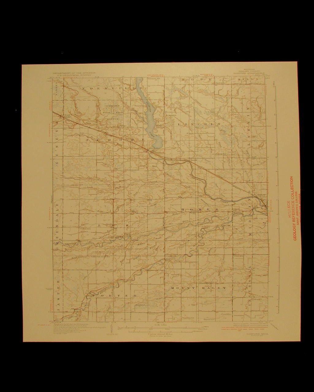 Sanford Michigan Vintage 1936 Original USGS Topographical