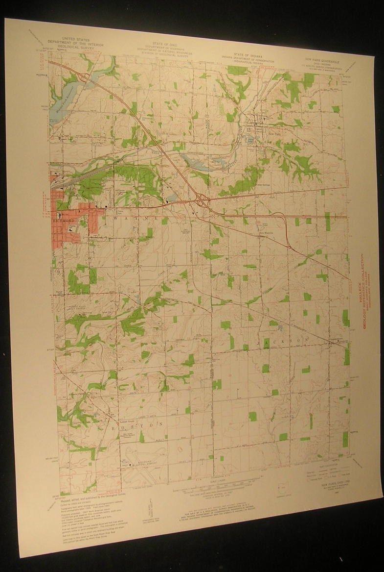 New Paris Ohio Map.New Paris Ohio Forest Hill Golf Course 1961 Vintage Usgs Original