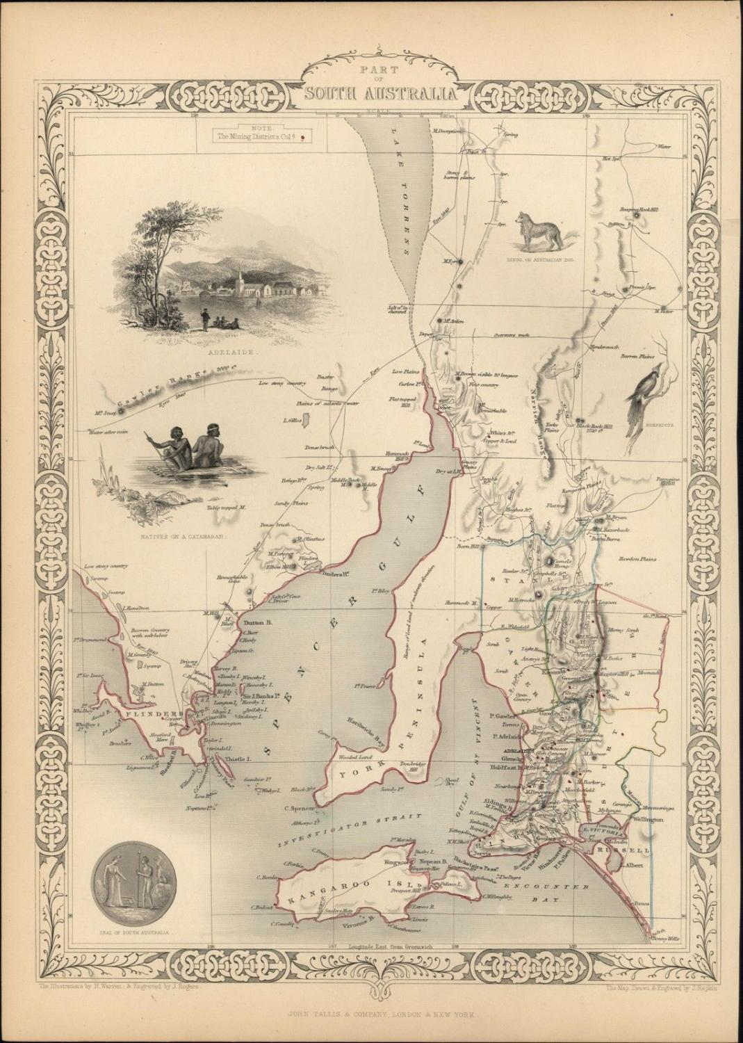 Map Of New York 1850.South Australia Aborigines Dingo Adelaide