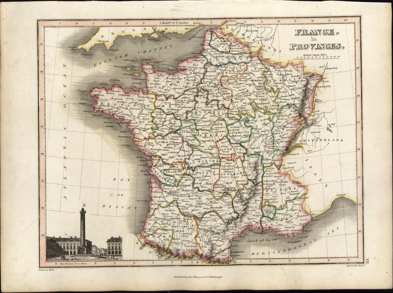 Old Map Of France.France In Provinces W Paris View Beautiful