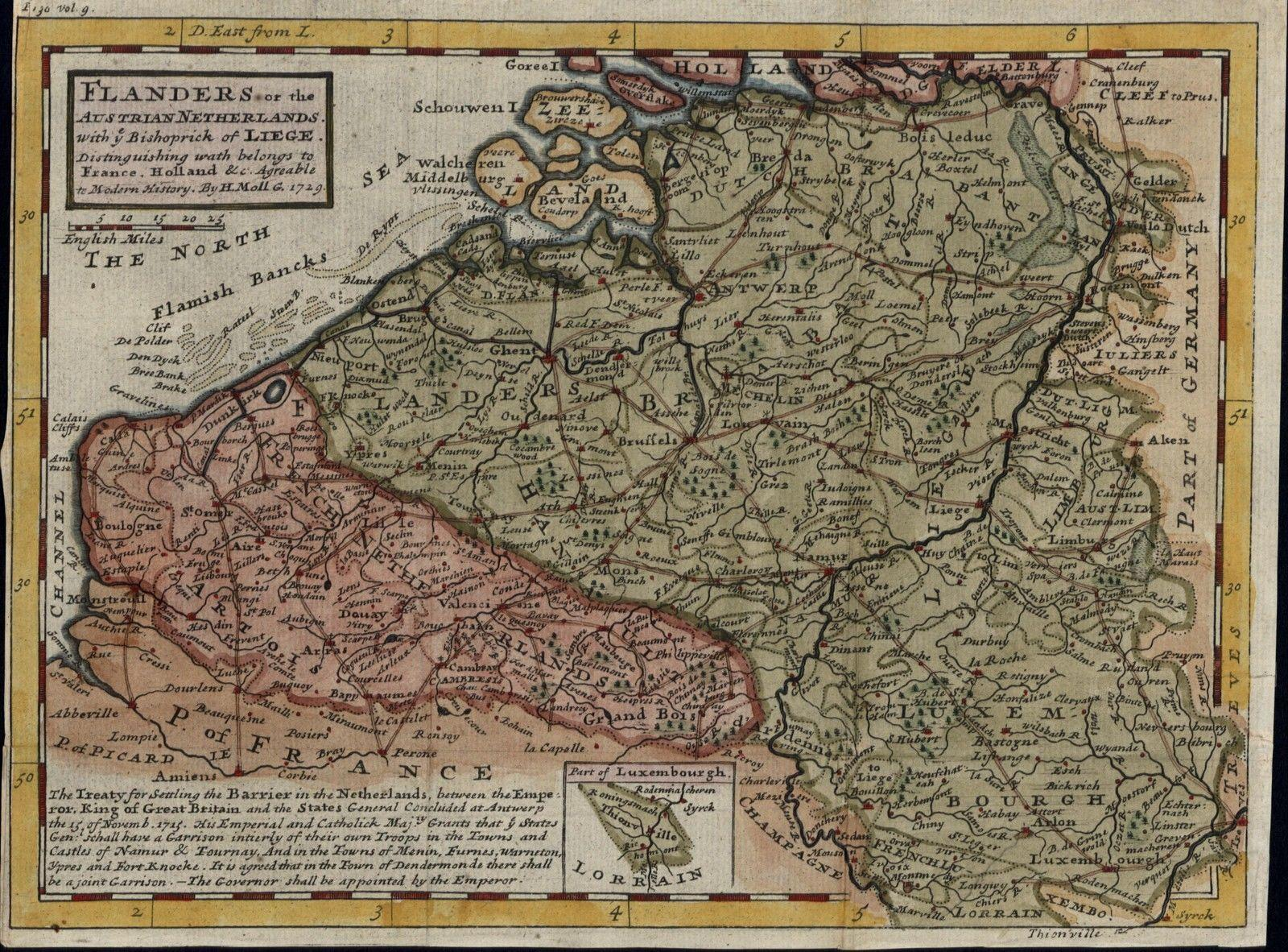 Map Of Northern France Belgium.Netherlands Holland Belgium Northern France