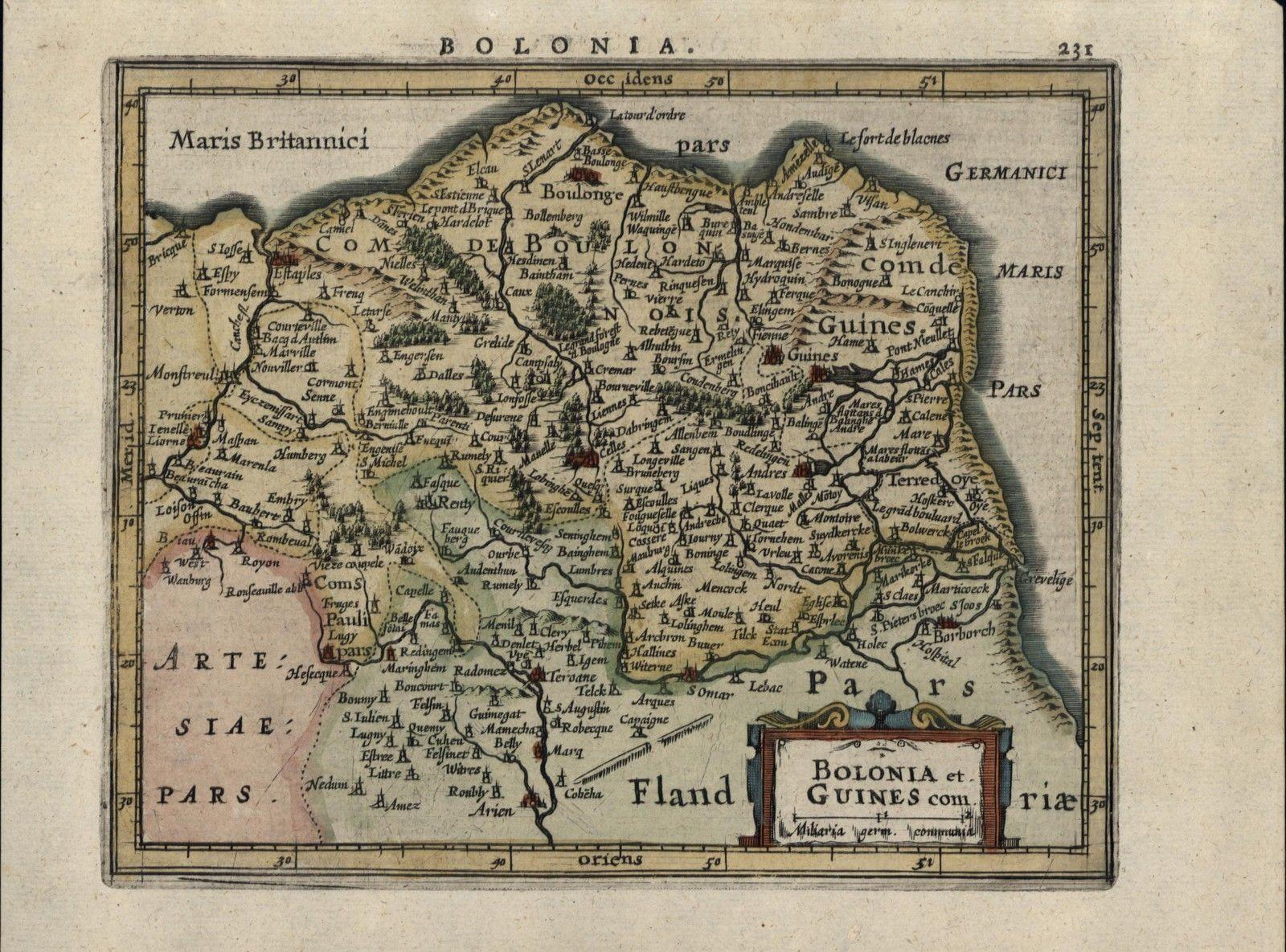 Old Map Of France.Boulon Bolonia Normandy Northern France