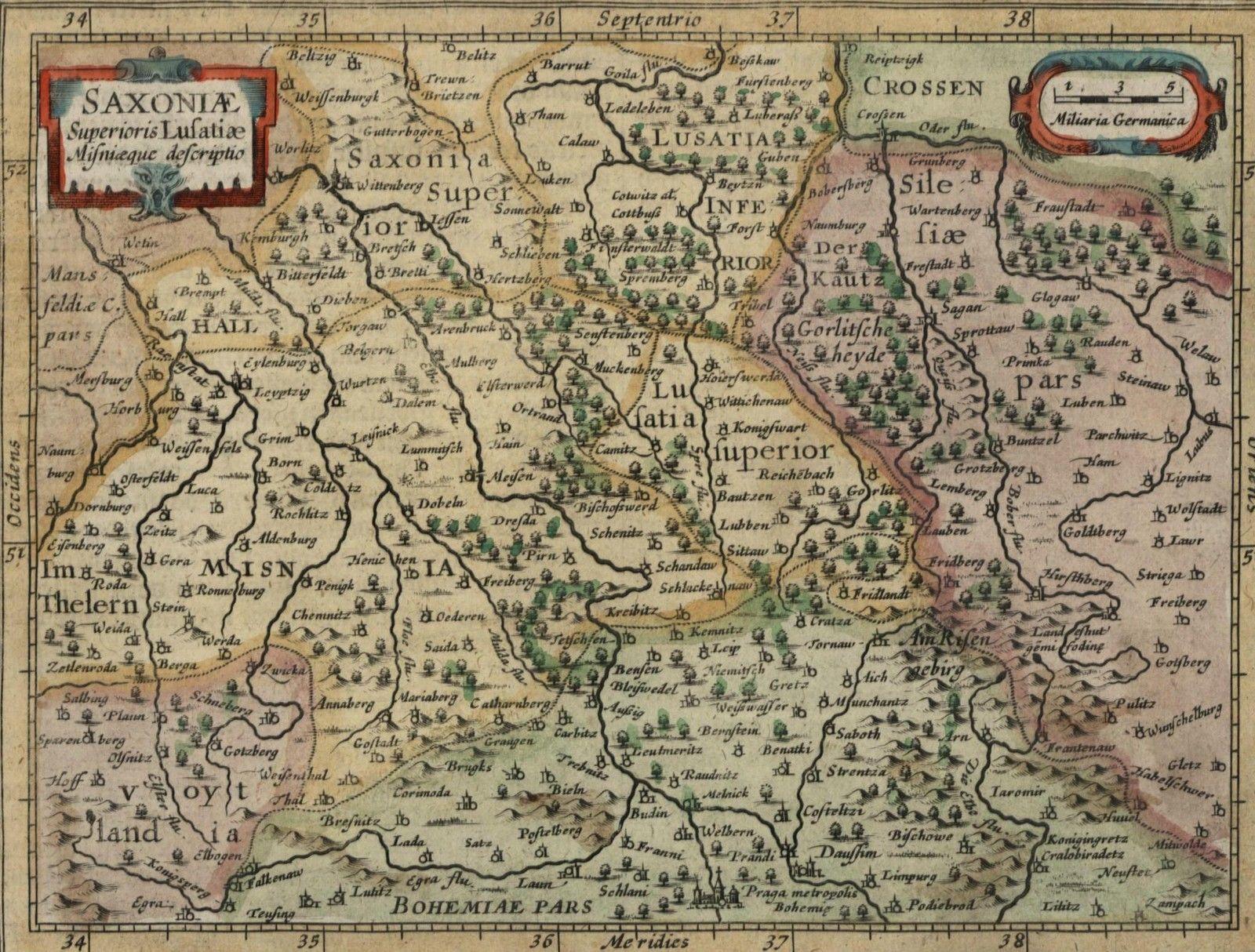 Saxony Northern Germany Bohemia Lusatia antique c1628 Mercator