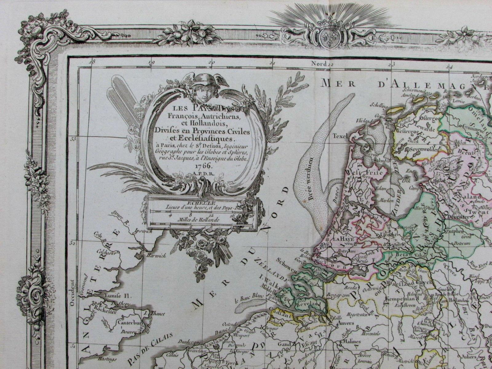 Map Of France And Holland Belgium.Pays Bas France Netherlands Holland Belgium Luxembourg 1766 Brion