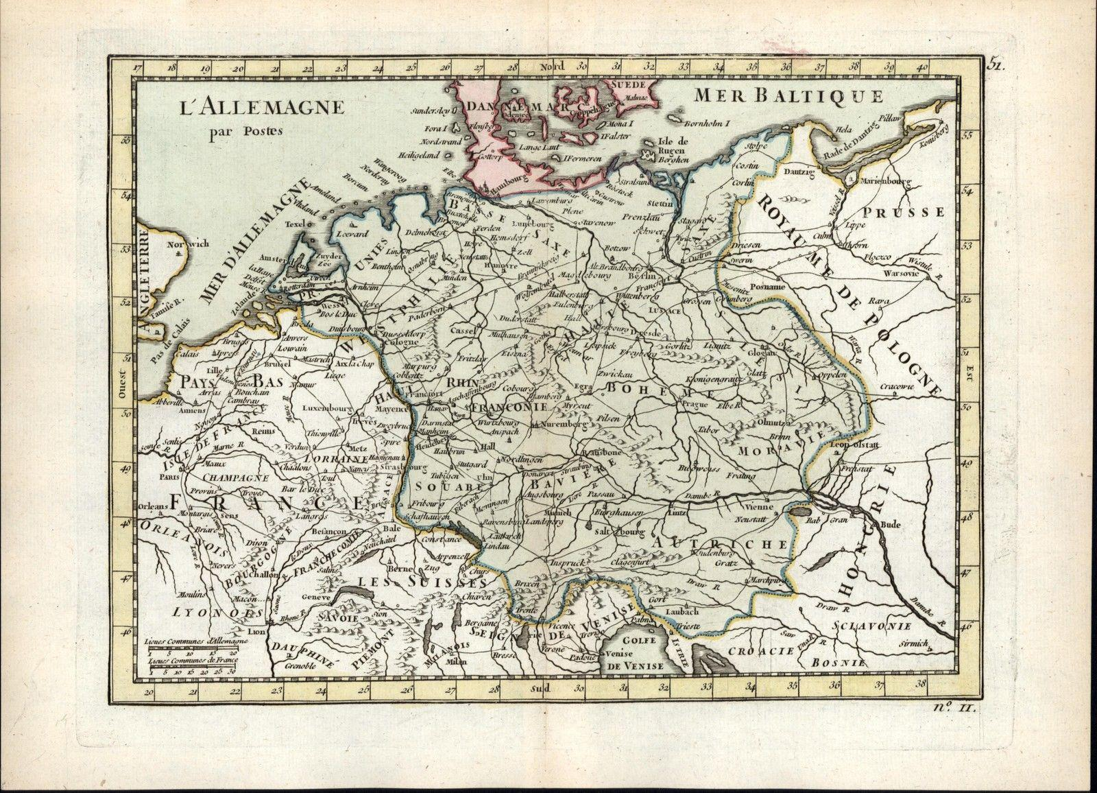 Map Of Old Germany.Germany Postal Map German Offices Routes Of Travel 1768 Le Rouge Old