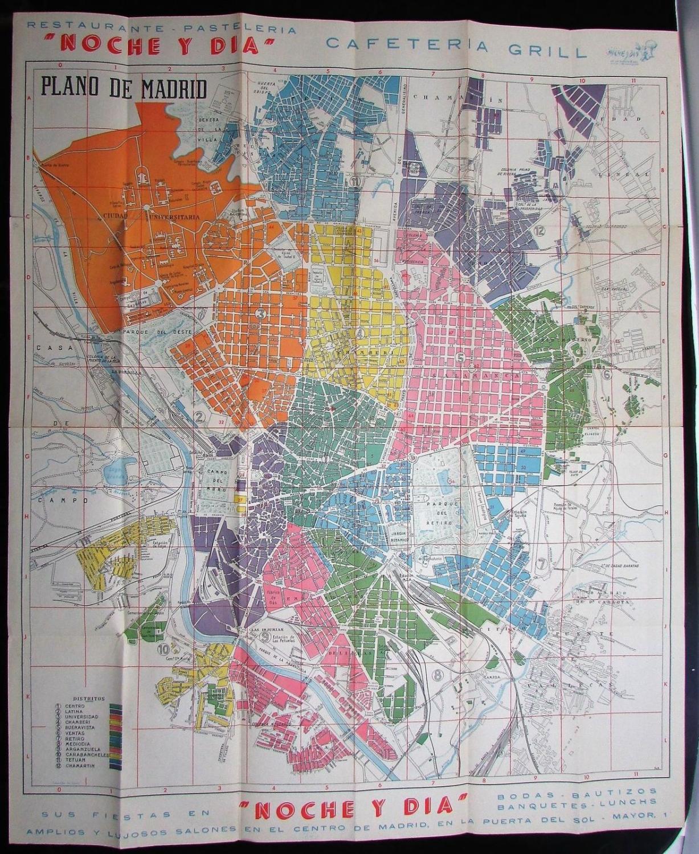 Madrid Spain city map plan c.1930-50\'s lot of 3 large folding ads ...