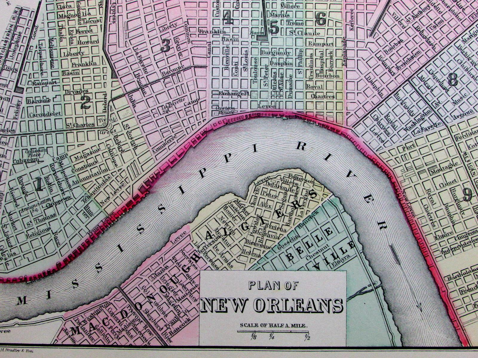 New Orleans Louisiana Mississippi River wards Algiers 1887 antique ...