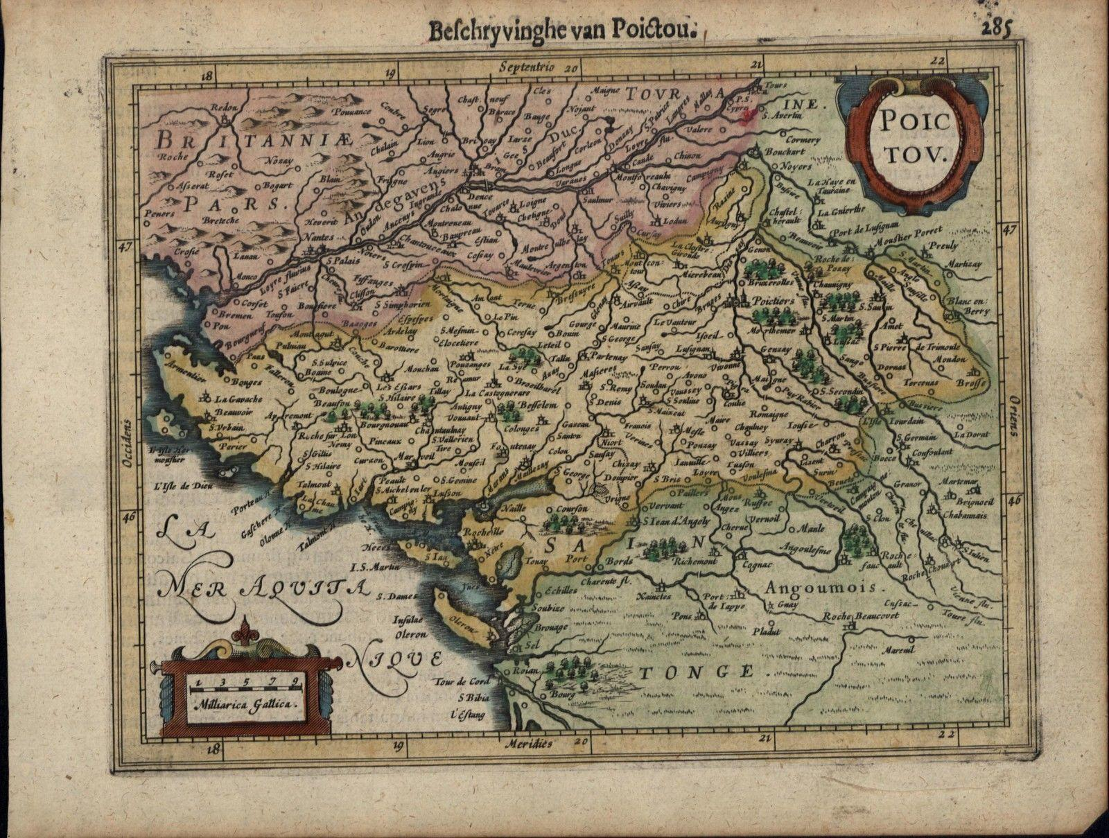 Poitou France Map.Poitou Poictou Western France Bay Of Biscay C 1628 Mercator Minor