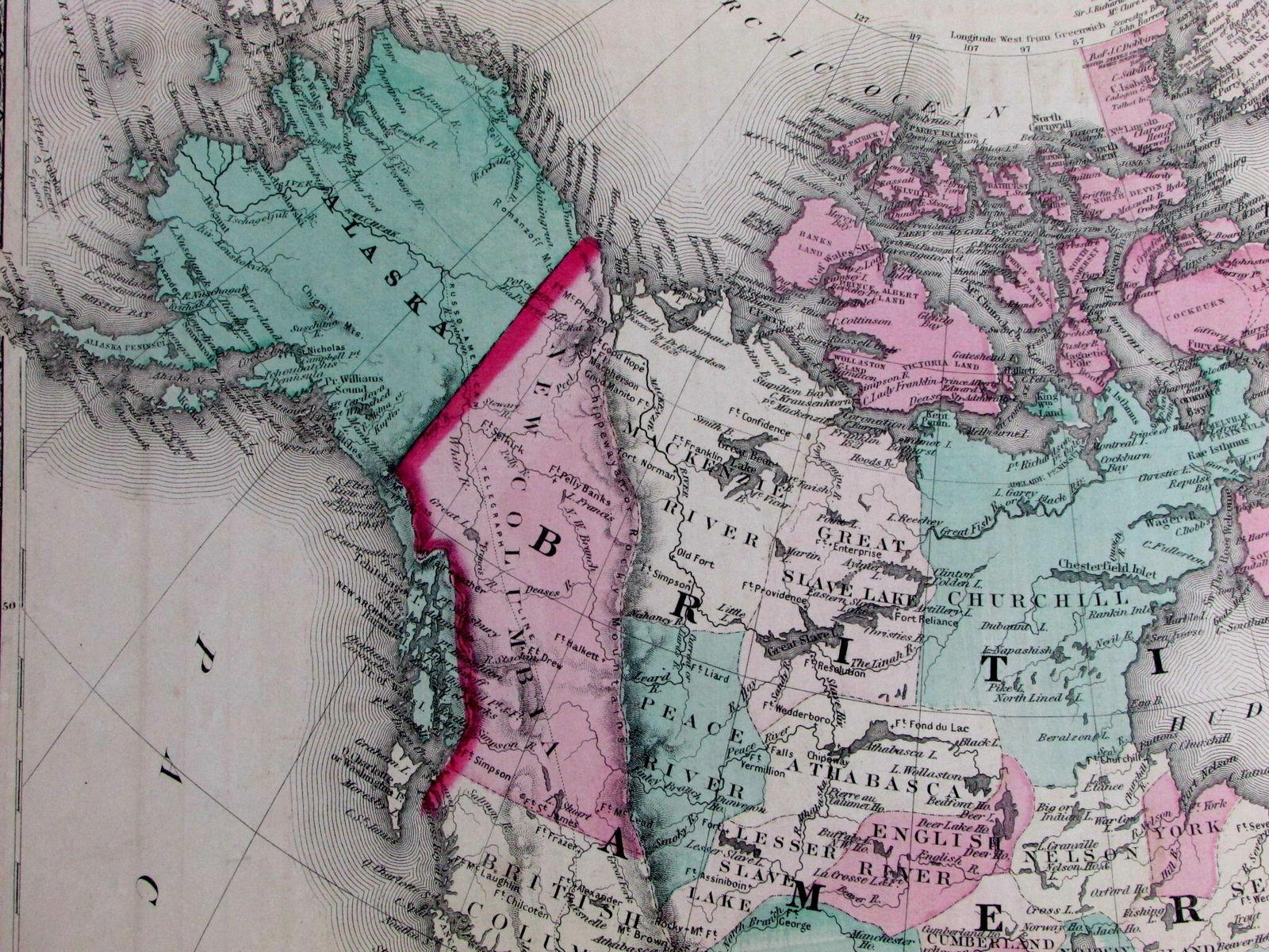 Map Of North America And Hawaii.North America Sandwich Islands Hawaii Alaska Scarce 1867 Large Old
