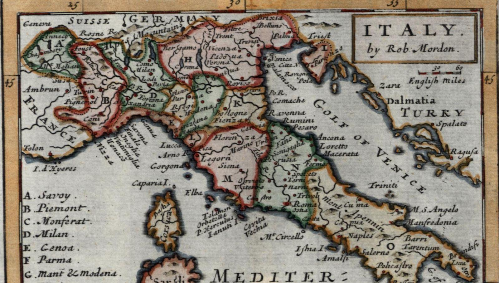 Tarentum Italy Map.Italy C 1685 1793 Very Rare Morden Mordon Old Miniature Map Borri L