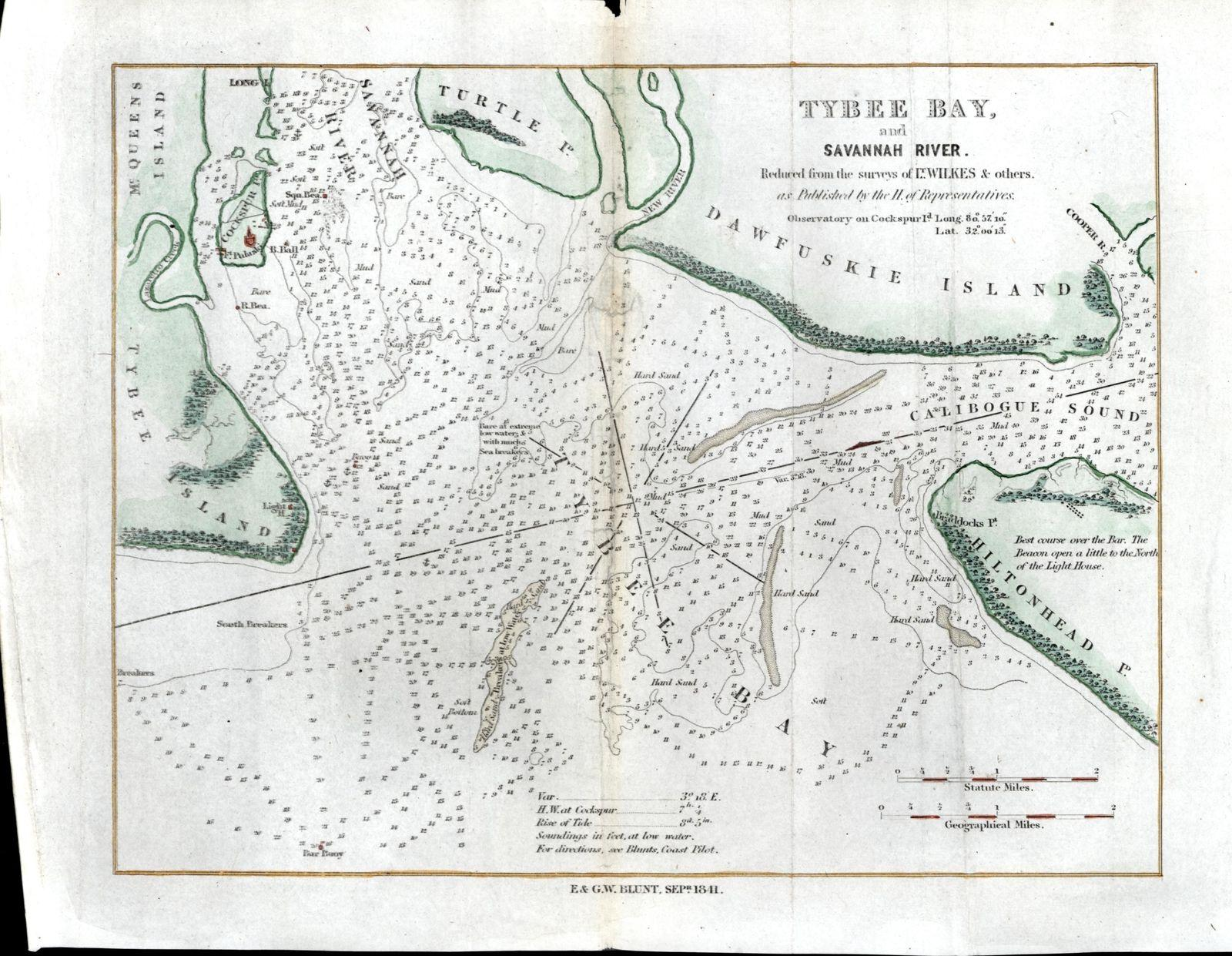 Savannah River Georgia Tybee Bay 1850 Blunt Old Color Nautical Map