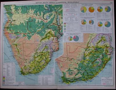British South Africa gold diamonds mining industry 1925 commercial trade map: - RareMapsandBooks
