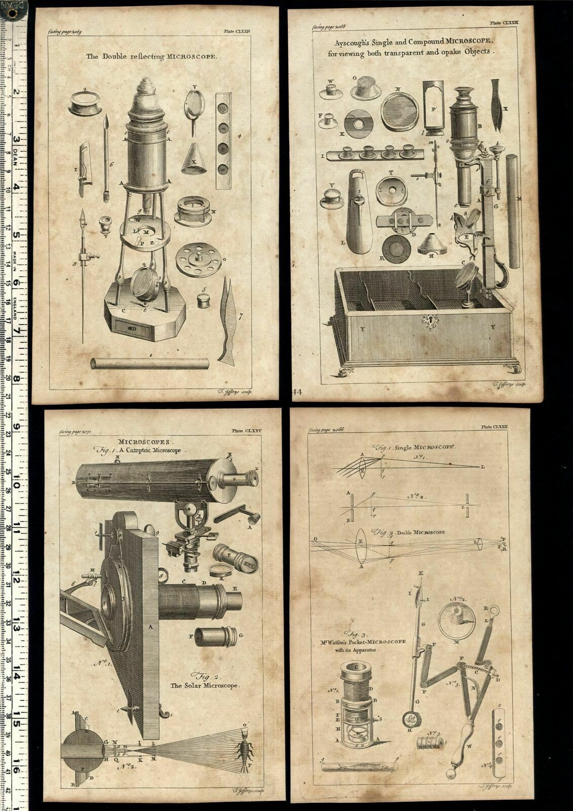 Microscopes Telescopes science 1754 Thomas Jefferys lot of 8 old engraved prints Good (Telescopes- vision- microscopes- catoptric- double reflecting- Mr. s Watson's pocket microscope- Ascough's single and compound microscope) Issued 175