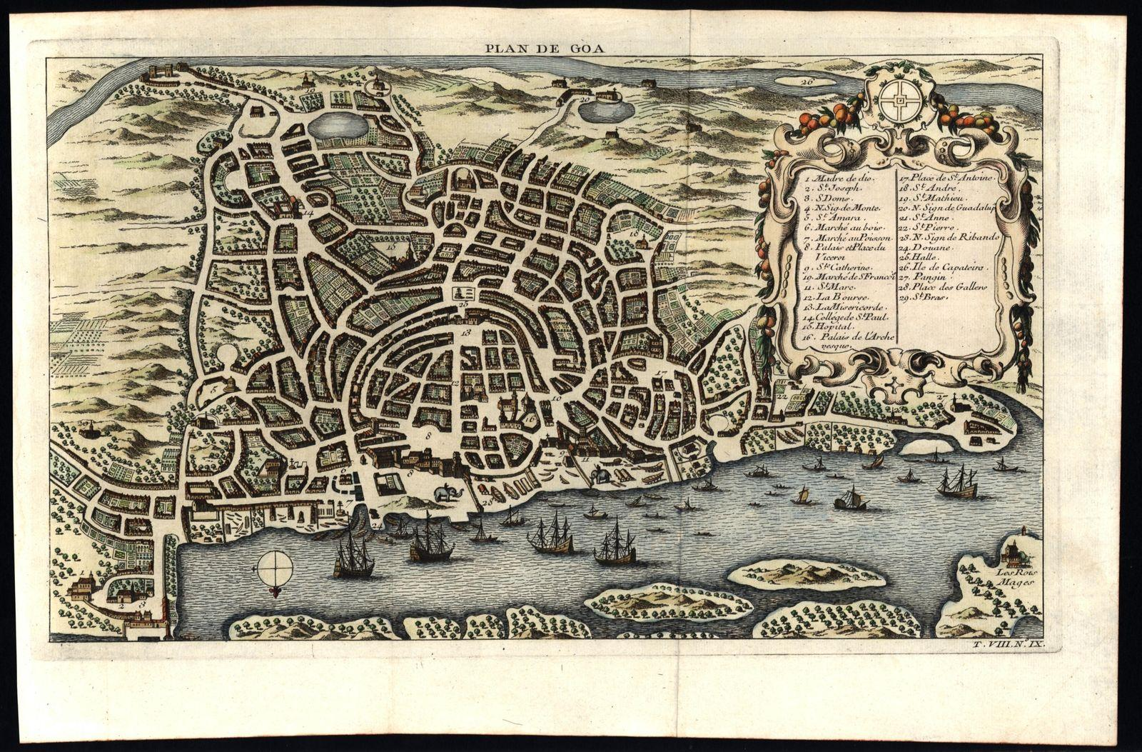 Goa India city plan & harbor birds eye view 1750 Bellin pair of 2 ...