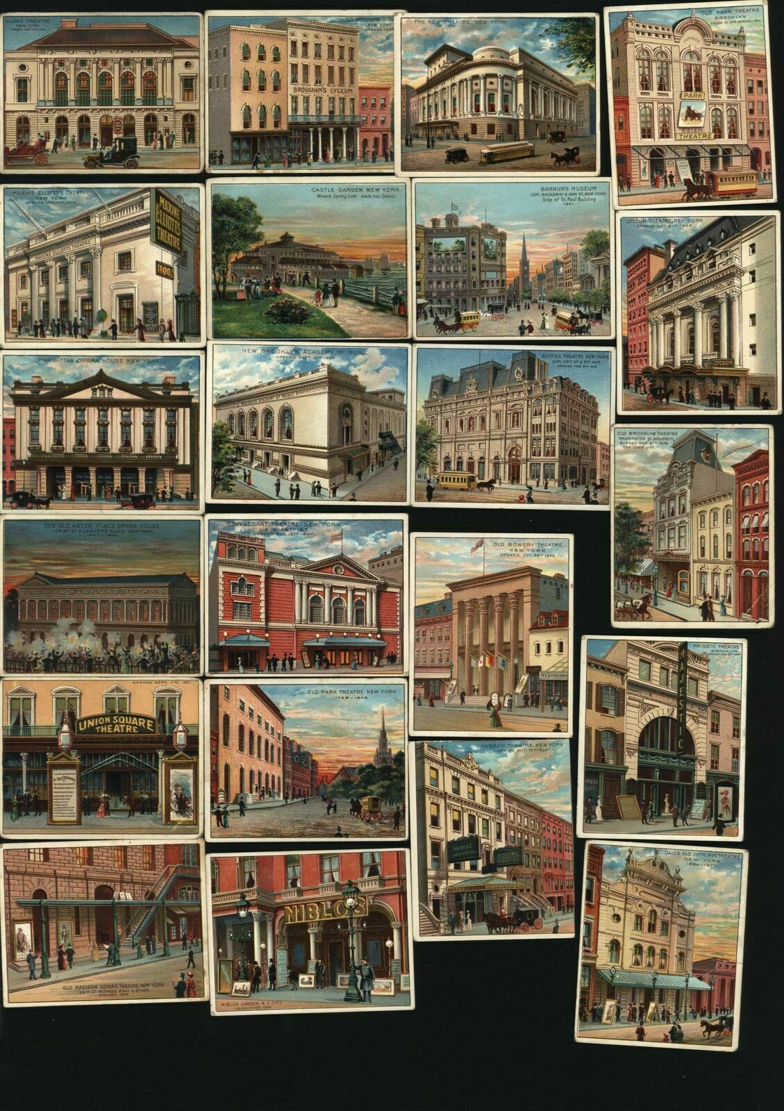 New York City c.1910 Theatres lot x 22 chromo cigar cards wonderful posters Good (New York City- Theatres) Issued c.1910-12 by Between the Acts- Little Cigars (American Tobacco Company Trust). Lot of twenty two (22) most appealing