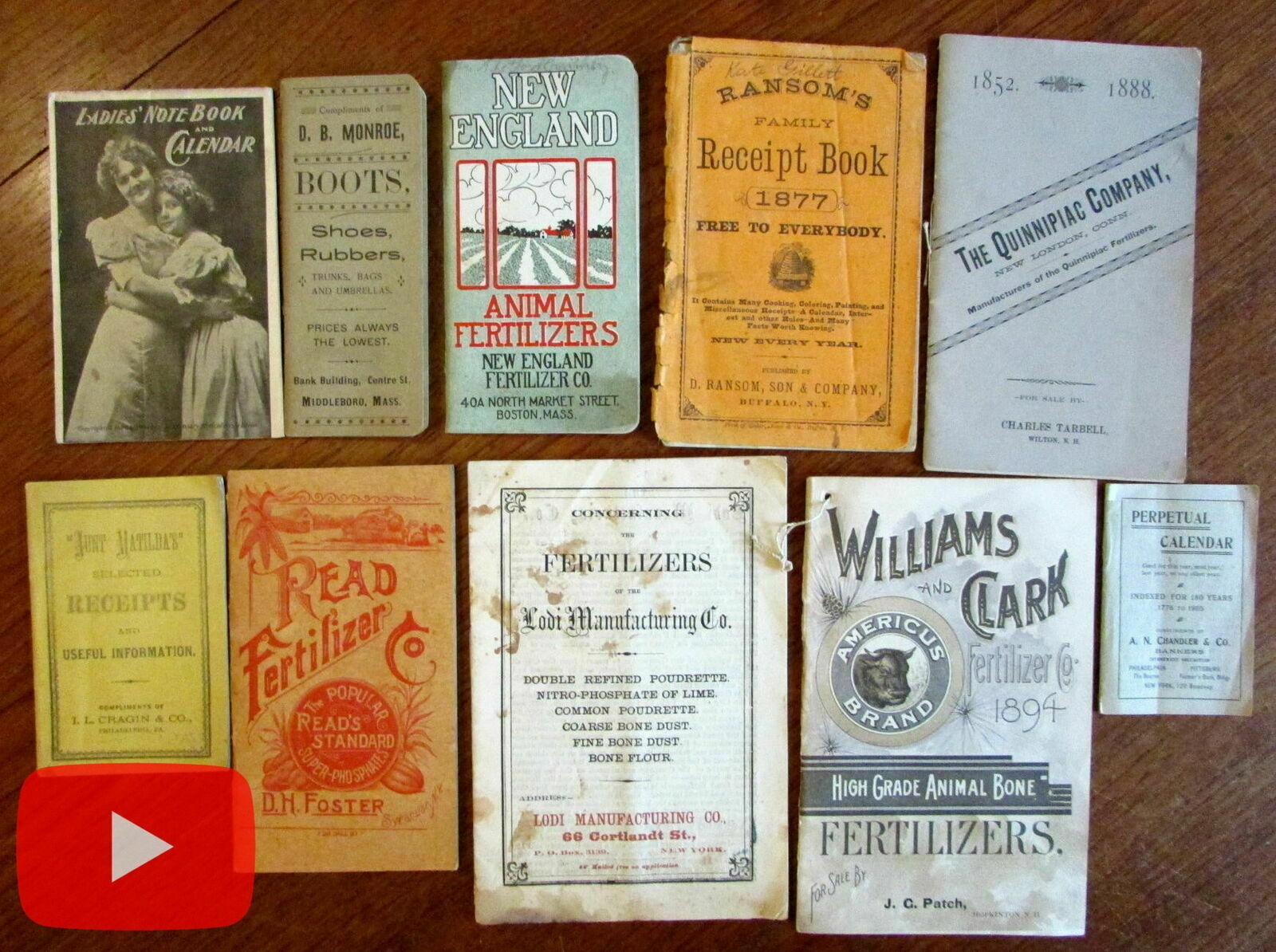 Advertising19th century ephemera lot x 10 brochures