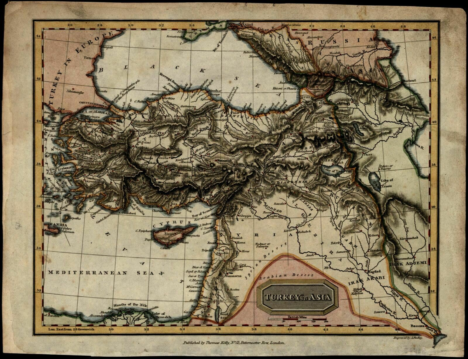 Map Of Georgia 1830.Turkey In Asia Mesopotamia Syria Georgia