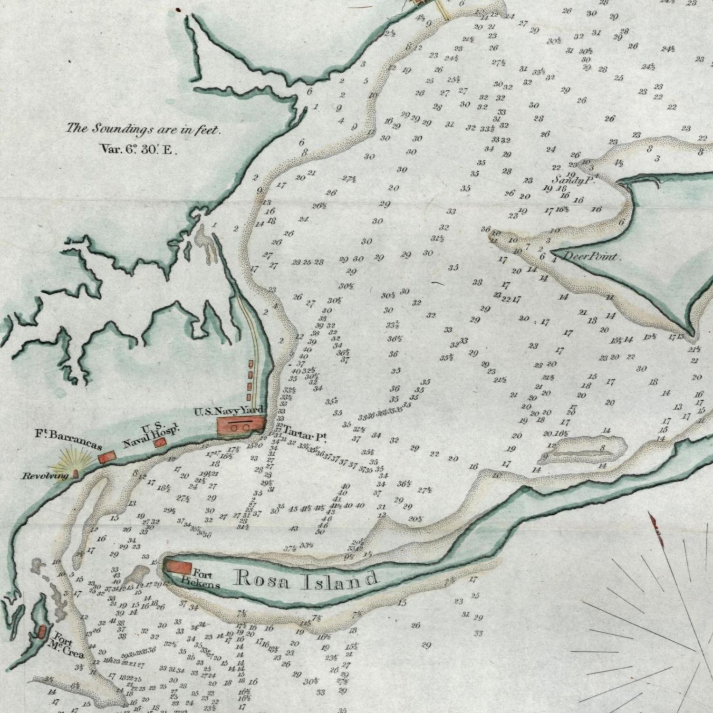 Pensacola Harbor Florida 1854 Blunt nautical