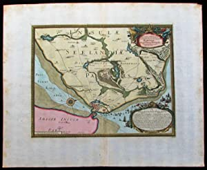Zeeland Denmark Danemark Copenhagen 1687 old antique Dahlberg battle plan map