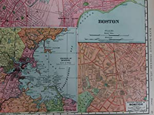 Boston Massachusetts 1907 huge old city plan map railroads Faneuil Hall museums