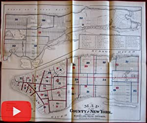 New York City Police Precincts 1870 large map detailed color litho Wards
