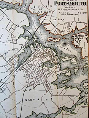 Portsmouth NH city plan c.1900 Greenough beautiful old map hand colored