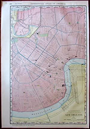 New Orleans Louisiana city plan 1912 huge Rand McNally detailed map