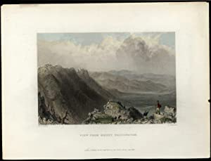 Mount Washington New Hampshire view from Summit c.1850 hand color print lovely