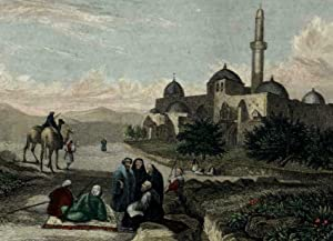Jerusalem Mount Zion c.1840 Holy Land print prospect view camels natives