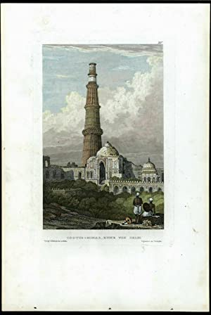 Kutub Minar Cootus ruins Delhi India c.1850 print view beautiful hand color
