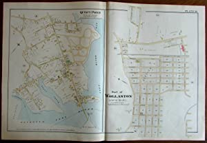 Wollaston Quincy Point Bay Norfolk County Massachusetts 1888 large detailed map