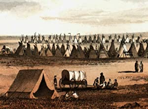 Native American Hunting Camp tepees 1860 Western U.S. fine litho view print