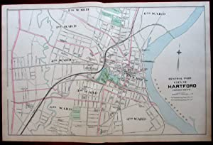 Hartford downtown center city plan 1893 Connecticut Hurd map