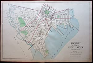 New Haven city plan southern harbor water front area 1893 Connecticut Hurd map